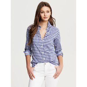 BANANA REPUBLIC 100% Cotton Blue Gingham Soft Wash Poplin Shirt